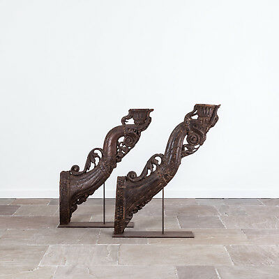 Pair of Oversized 18th Century Carved Brackets. Architectural Antiques