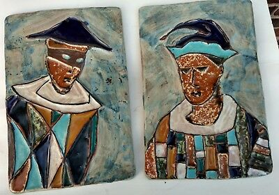 Pair: Harris Strong Tiles, HARLEQUIN, Jesters, mid century