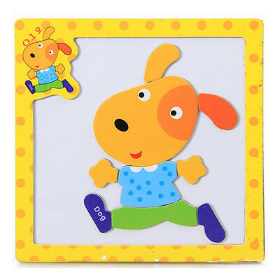 1 Pcs Wooden Puzzle Jigsaw Cartoon Kids Baby Educational Learning Puzzle Toys