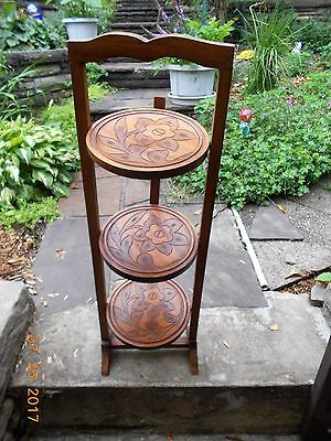Antique Vintage  3 Tier Pie Carved Cake Dessert Folding Stand Table