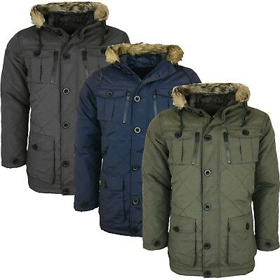 Mens  Parka Parker Padded Lined Winter Jacket Faux Fur Hooded Coat New S-Xl
