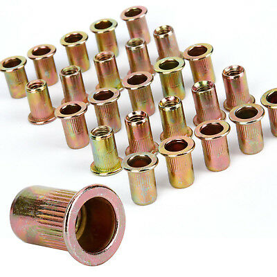 25 Pieces M6 M8 Size Brass Color Blind Rivet Nuts Insert Nutsert Rivnuts Nuts