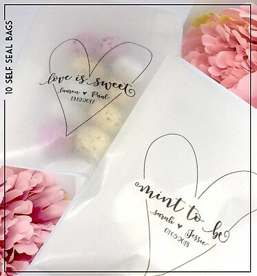 10 Personalised glassine Mint to be Love is sweet Confetti Favour bags wedding