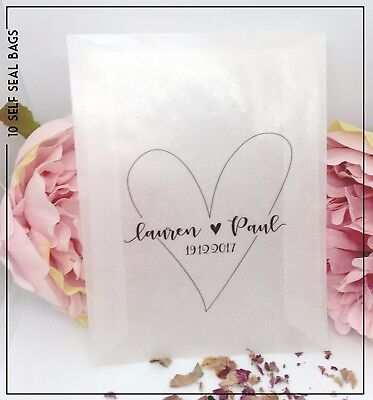 10 Personalised glassine Love Heart Confetti Favour bags wedding names & date