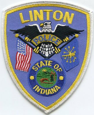 LINTON INDIANA IN state flag POLICE PATCH