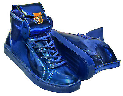 Fiesso Royal Blue Metallic Shiny High Top Lace Gold Fashion Sneakers Size 9