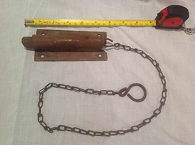 Antique vintage primitive metal spring hardware door lock dead bolt latch