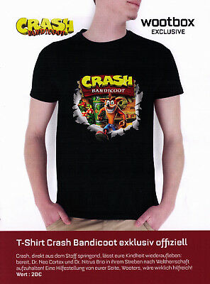 T-Shirt CRASH BANDICOOT - Wootbox Exclusive - Größe M - August 2017 - NEU+OVP