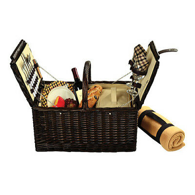 Picnic at Ascot Unisex  Surrey Picnic Basket for Two with Blanket Brown