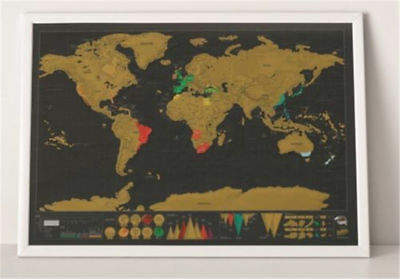 Big Travel Edition Scratch Off World Map Poster Personalized Journal Log