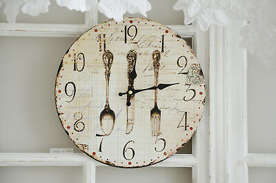 clayre eef wanduhr rosen uhr clock shabby chic vintage landhaus eur 12 95 picclick de. Black Bedroom Furniture Sets. Home Design Ideas