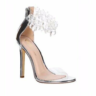 Olivia James IRIS Silver Mirror Metallic Crystal Gem Ankle Strap Clear Toe Strap