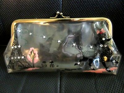 Vintage Clear Plastic Poodle Rhinestone Eiffel Tower Paris Clutch Bag Purse + Bo