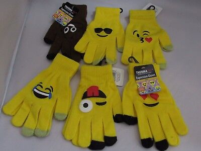 3 New Kids Emoji touch smart Knit Gloves One Size Fits Most! Us Seller!