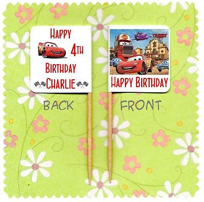 20 PERSONALISED DISNEY CARS CUP CAKE FLAG Party Pick Topper Decoration Birthday