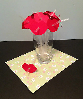 12 RED KISS LIPS PARTY DRINKING STRAWS Wedding Hen Do Stag Red Straw Photo Prop