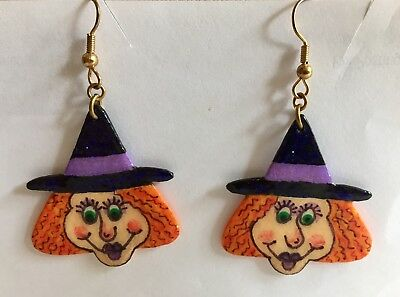 Whimsical Handpainted Witch Earrings