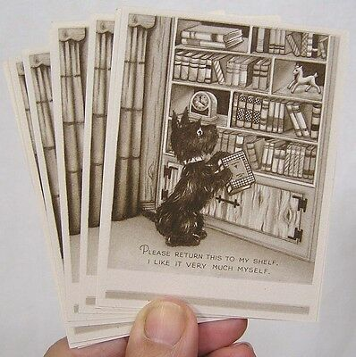 Vintage LOT 12 Book Plates Scottie Dog Image Library Books