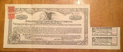 Stock Certificate Amalgamated Copper Mines Company 2-yr coupon Gold Note 1921