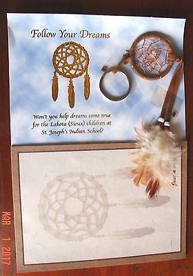 NATIVE AMERICANS, SIOUX LEGEND OF THE DREAM CATCHER - KEY RING w/ FEATHERS & PAD