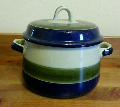 Elisabeth Rorstrand Sweden Stoneware Green Blue Stripes Serving Bowl with Lid