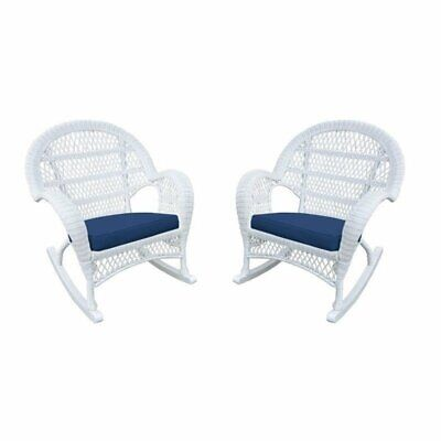 Jeco Wicker Rocker Chair in White with Blue Cushion (Set of 2)