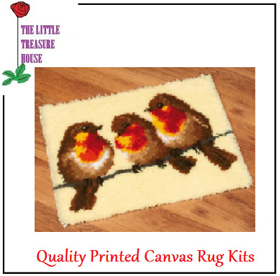 Robin Printed Canvas Latch Hook Rug Kit - Rug Making - Everything included