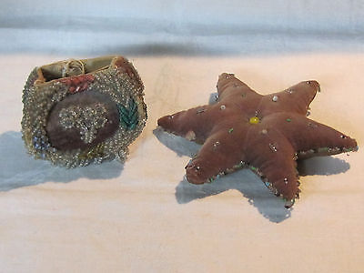 Antique vintage Iroquois beaded pin cushion and bag for repair restoration
