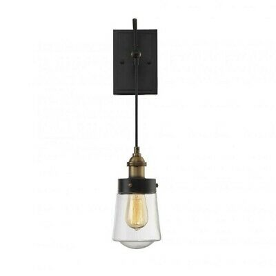 Savoy House Macauley Sconce in Vintage Black with Warm Brass