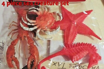 4 pc. MINIATURE SEA CREATURES w/ CRAB LOBSTER SEAHORSE STARFISH Made of PLASTIC