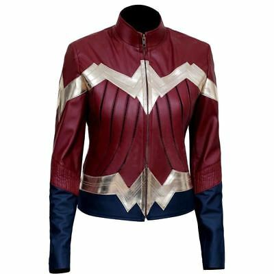 New Wonder Woman 2017 Classic Iconic Costume Faux Leather Jacket