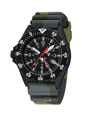 KHS Tactical Wrist Watches Shooter GMT Diver Strap Camouflage H3 Trigalights ©