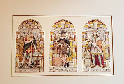 Antique Victorian stained-glass sketches and paintings