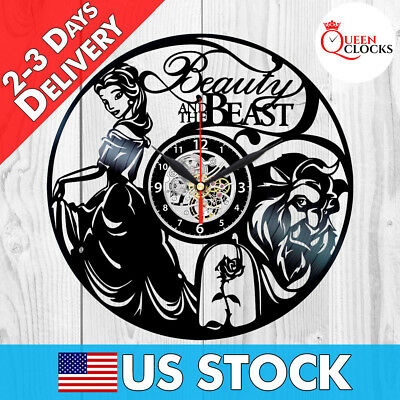 Beauty and the Beast Wall Clock Vinyl Record Home Decor Disney Art Best Gifts !