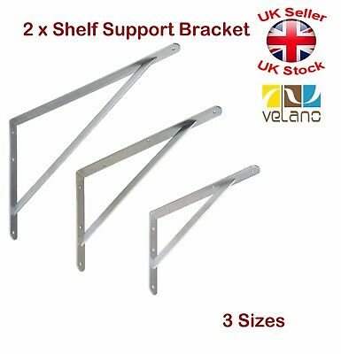 2 x  Shelf Supports Metal Brackets Strengthened Galvanised 3 Sizes 300 400 500mm