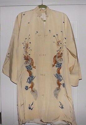 Vintage Traditional Chinese Beige Kimono Style Robe with Colorful Dragon Decor