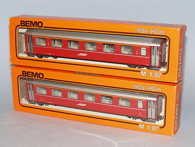 BEMO HOm SCALE 2 x RhB 1st CLASS BOGIE COACHES #3253 + #3268 MINT BOXED