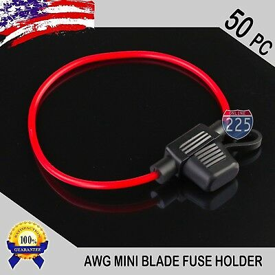 50 Pack 18 Gauge APM / ATM MINI Blade Inline Fuse Holder Car Truck Marine Boat