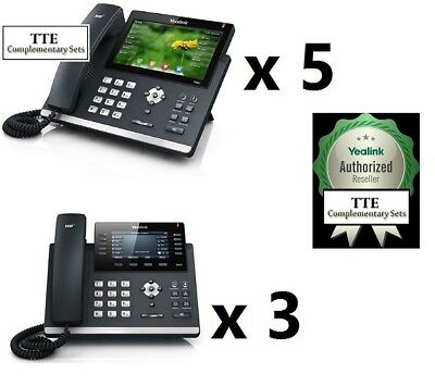 MAKE AN OFFER 8-Piece Yealink 5ct SIP-T48S + 3ct SIP-T46S Enterprise SIP Phones