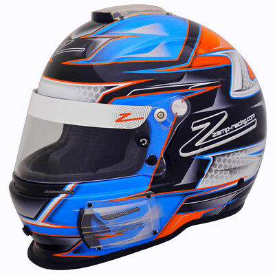 ZAMP - RZ-42 Pro SA2015 Auto Racing Helmet -Snell Rated Blue Orange Graphic