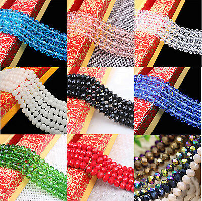 """16-22""""Strand Crystal Czech Glass Rondelle Faceted Loose Spacer Beads 4/6/8/10MM"""