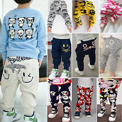 Toddler Kids Boys Casual Harem Pants Cartoon Trousers Bottoms Leggings Sweatpant