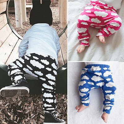 Newborn Baby Boys Girls Trousers Cloud Print Play Bottoms Leggings Long Pants 8M