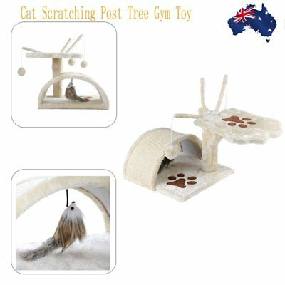 Cat Scratching Post Tree Gym House Scratcher Pole Furniture Toy Beige 45cm