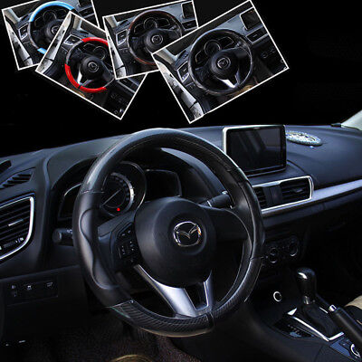 Black Specular carbon fiber Sheepskin PU Car Steering Wheel Cover 38cm 15""