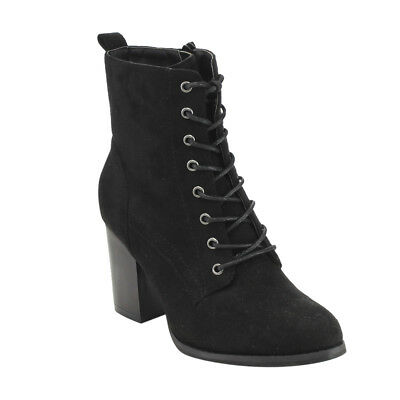 Women's Lace Up Side Zip Block High Heel Combat Ankle Booties