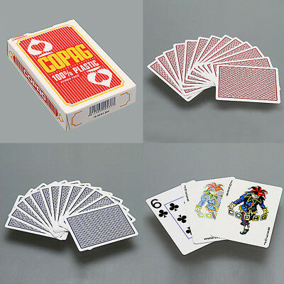 One Deck COPAG Poker Size Jumbo Face Plastic Playing Cards - Red / Blue