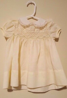 Polly Finders Baby Girl Vintage Hand Smocked Dress Size 24 months Yellow