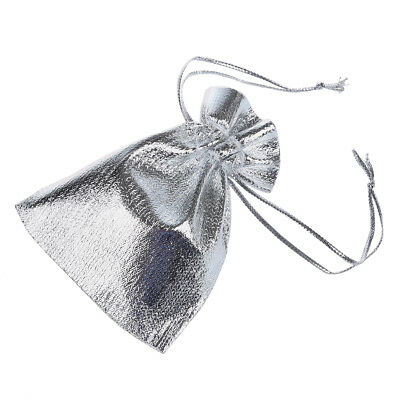100 pcs FULLY LINED LUXURY Satin Gift Pouches Bag Jewellery Pouch Silver PK