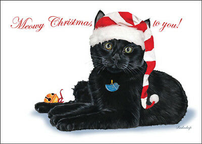 Black Cat Christmas Cards Set of 10 cards & 10 envelopes